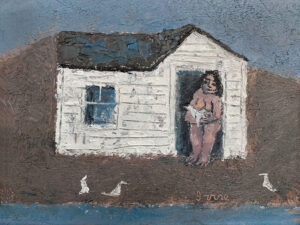 WILLIAM IRVINE Woman with Wounded Gull oil on panel, 12 x 16 inches $2800