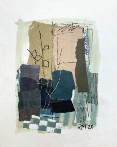 ROSIE MOORE Blue Interior mixed media on paper, 20 x 16 inches $1800