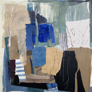 ROSIE MOORE Blue Window mixed media on canvas, 30 x 30 inches $5000