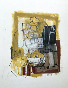 ROSIE MOORE Yellow Interior mixed media on paper, 22 x 18 inches $2000