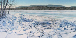 JANICE ANTHONY North Androscoggin, March acrylic on linen, 22 x 42 inches $9000