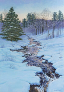 JANICE ANTHONY Winter River, Evening acrylic on linen, 20 x 14 inches $3300