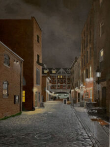 B MILLNER Closing Time on Wharf Street oil on canvas wrapped panel, 24 x 18 inches $3600