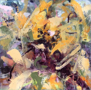 LINDA PACKARD Sunflowers and Summer oil on panel, 10 x 10 inches $850